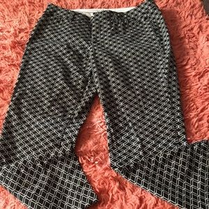 Black and white geometric pants